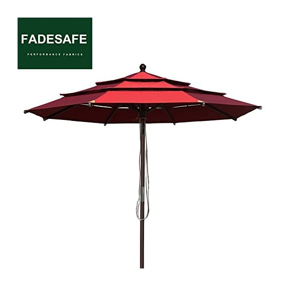 EliteShade Sunbrella 9Ft Market Umbrella Patio Outdoor Table Umbrella with Ventilation (Sunbrella Jockey Red Clarity) - FADESAFE FABRIC: Three layers ventilated breathe freely.Water repellent, 98% UV protection and Solution dyed Fading resistant fabric. Our Fadesafe fabric make your patio umbrella last longer and stay strong for years to come FULL ALUMINUM UMBRELLA FRAME:20% stronger than most of the umbrellas in the market. The 9ft Patio umbrella comes with 1.5 inches diameter aluminum pole provides stronger support than standard round poles. Rust Free Powder Coated with 8 Ribs. Wonderful choice for any outdoor activities CRANK OPEN SYSTEM,PUSH BUTTON TO TILT: Crank open system, easy to open and close by the crank handle. Press push button to tilt for more shade Easy to tie up our patio umbrella with strap, prevent falling in wind, rain etc - shades-parasols, patio-furniture, patio - 41z3d8WB2PL. SS570  -