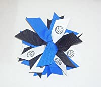 Volleyball Pom Hair Bow Scrunchie - Made in the USA, Avail in Many Colors, white pony band