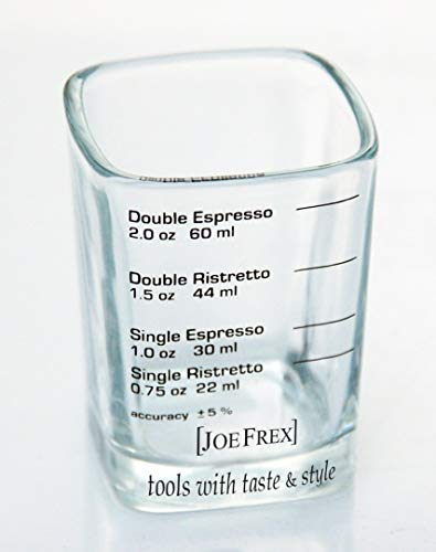 "Espresso Shot & Measuring Glass for Baristas 2oz 1,8"" x 1,8""x 2,6"" inch for Single Shot of Ristrettos and Espresso"