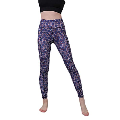 iHPH7 Women's Printed Leggings Elastic High Waist Tights Printed Camouflage Pockets Hip-Tightening Running Fitness Yoga Pants (S,4- Purple) -