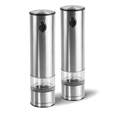 (Cole & Mason E960011U Battersea Electric Salt and Pepper Grinder Set with LED Light-Electronic, Battery Operated Mill, Stainless Steel, One Size, Silver)