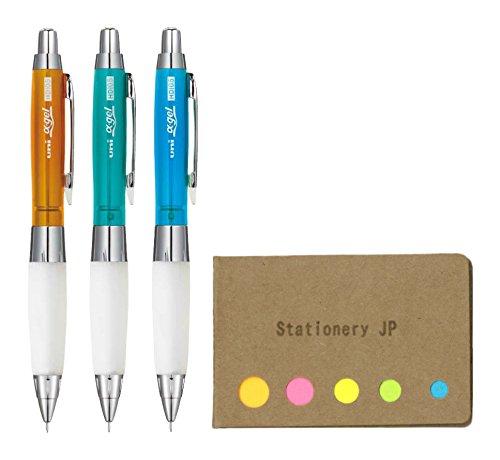 Uni Alpha Gel Shaker Mechanical Pencil Hard Grip Model 0.5 mm, 3 Chrome Color Body (Orange/Green/Light Blue), Sticky Notes Value Set