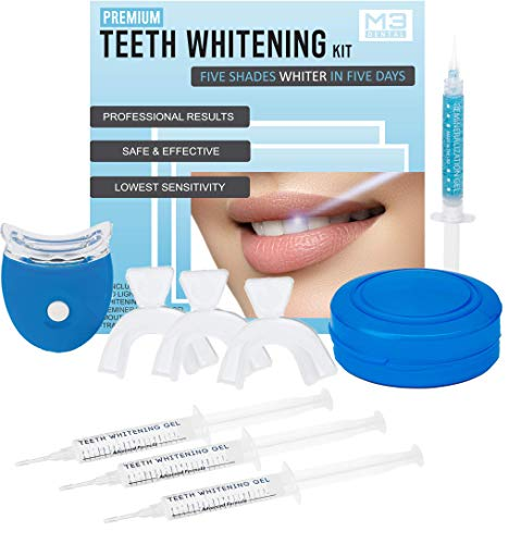 M3 Dental Teeth Whitening Kit with LED Light Professional Stain Remover Non Sensitive 44% Peroxide Gel Oral Remineralization Gel Custom Trays Retainer Case 5 Shades Whiter in 5 Days!