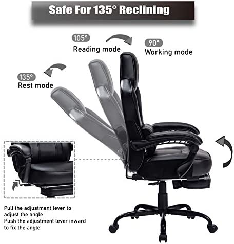 HEALGEN Reclining Gaming Chair with Large Lumbar Support Cushion Racing Style Video Game PC Computer Gamer Gaming Chairs Ergonomic Office High Back Chair with Headrest(HG085-BLK) 41z3dW 2B7mwL