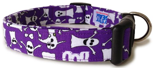 Adjustable Dog Collar in Halloween Purple Ghosts (Handmade in the U.S.A.)