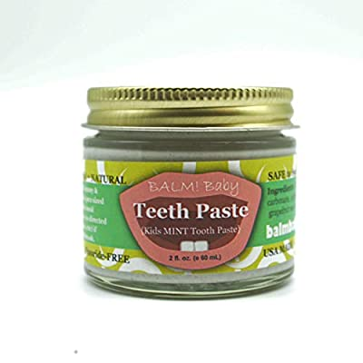 BALM Baby Teeth Paste All Natural Fluoride Free Kids Toothpaste with Xylitol GLASS Jar Made in USA