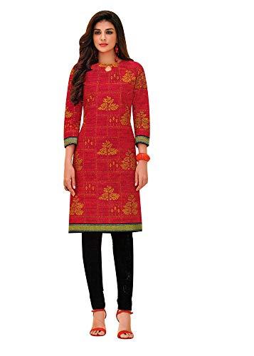 ladyline 100% Cotton Ethnic Printed Kurtis for Women Indian Tunic Kurta Top (Size_46/ Red)