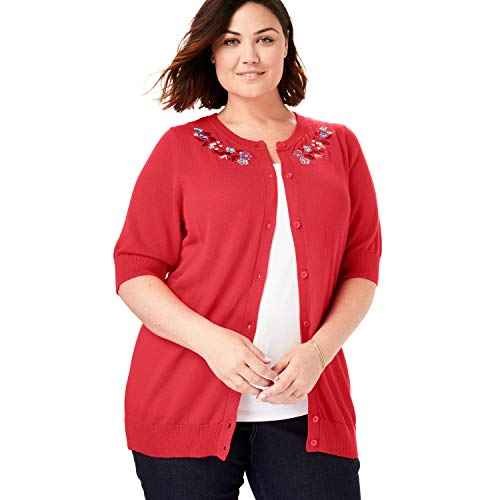 - Woman Within Women's Plus Size Perfect Elbow-Length Sleeve Cardigan - Vivid Red Floral Embroidery, M