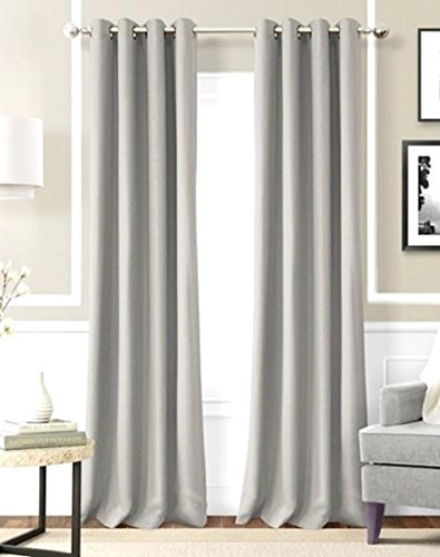 Gorgeous Home ** AVAILABLE IN DIFFERENT SIZES & COLORS ** (#60) 2 PANELS SOLID LINED FOAM BLACKOUT HEAVY THICK WINDOW TREATMENT CURTAINS DRAPES SILVER SOLID GROMMETS (84″ LENGTH, SILVER GRAY )
