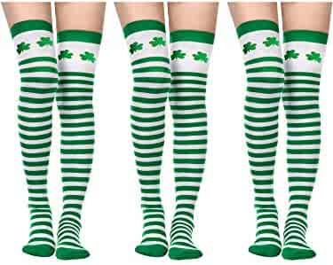 e5840ab3c Sumind St. Patrick s Day Tights Women Long Irish Socks Over Knee Thigh High  Stockings for