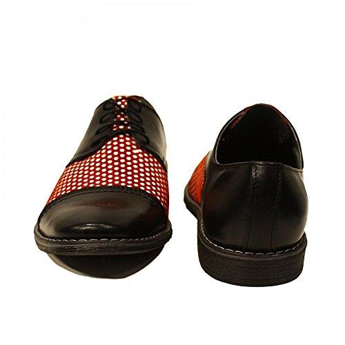 PeppeShoes Modello Pisello - Handmade Italiano da Uomo in Pelle Rosso Scarpe da Sera - Vacchetta Pelle Morbido - Allacciare