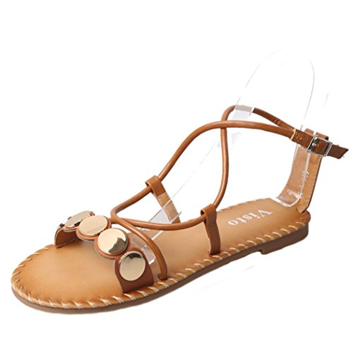 Transer Ladies Leisure Flat Sandals- Women Summer Roman Sandals Comfy Casual Shoes Brown rl5pA3a