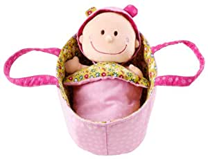 "Lilliputiens Chloe 8"" Soft Doll in Basket w Removable Outfit, Diaper & Blanket"