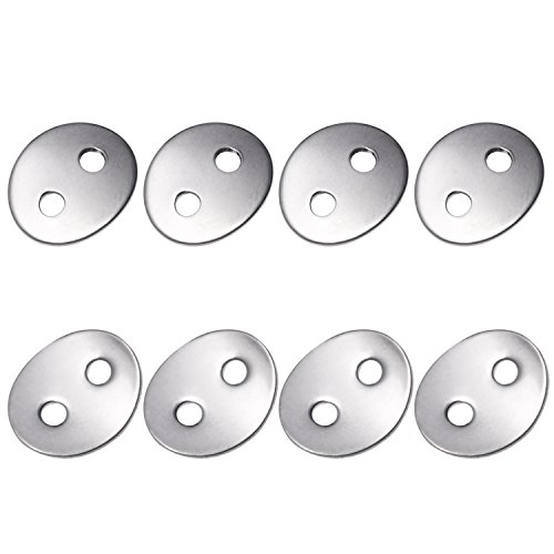 Canomo 24pcs 2.3mm Holes Stainless Steel Button Snaps Bracelet Clasps for necklaces, rings, bracelet and Jewelry, Sliver (Clasp Hole 2)
