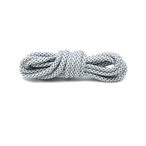 (VASGO Sport Round Shoe Laces Reflective, for Sport/Casual/Trainer Sneaker [5 Different Lengths Thick 12 Colors] (47inch / 120cm, White))