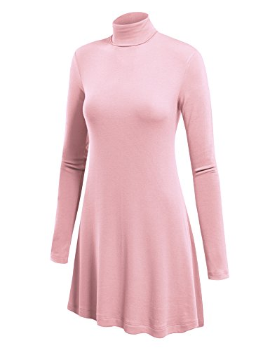 WT992 Womens Long Sleeve Turtleneck Sweater Tunic With Various Hem XL Pink