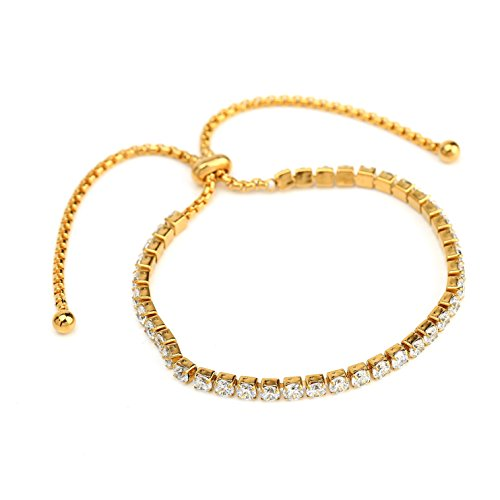 Honora Drop Necklace (Adjustable Gold Tone Designer Bolo Bar Bracelet with Striking Swarovski Style Crystals)