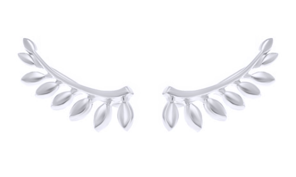 Delicate Leaf Ear Crawler Climber Earrings in 14k White Gold Over Sterling Silver By Jewel Zone US
