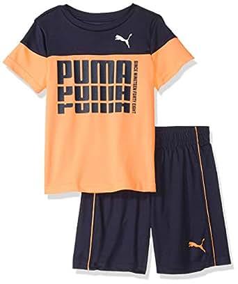 PUMA Toddler Boys' T-Shirt & Short Set, Orange pop, 2T