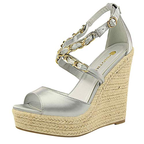 ✶HebeTop✶ Summer Women High Heels Sandals Ladies Fish Mouth Platform Wedge Sandals Silver ()
