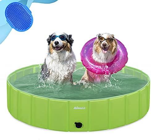 Asmsdd Dog Pool Foldable Kids Paddling Pool Portable Dog Swimming Pool Pet Paddling Pool PVC Non-Slip Large Pet Bathing Bath Tub Playing Pool for Dog Cat Indoor/Outdoor (Bonus Pet Bath Brush) 32″x 8″