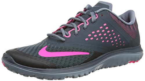 Tennis Mesh Nike Classic (NIKE Women's FS Lite 2 Running Shoe, Classic Charcoal/Pink Pow/Blue Graphite, 9 B(M) US)