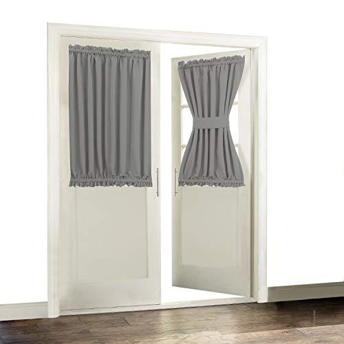 Blackout Door/ Window Curtain Panels for Privacy - Aquazolax 54W x 40L Blackout Window Treatment Curtains for French Door - 1 Panel, Grey by Aquazolax (Image #8)'