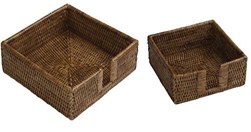 Entertaining with Caspari Brown Rattan Lunch & Cocktail Napkin Holders Bundle of 2 (Holder Rattan)