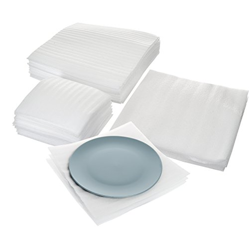 Protection Case Pack (Cushion Foam Sheet and Pouch Variety Bundle Pack (60 Pack), Packing Supplies for Moving, Wrapping Dishes, Glasses, Furniture Legs, By California Basics)