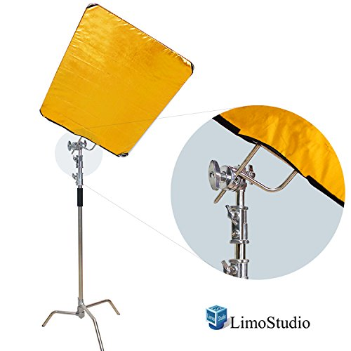 LimoStudio Photo & Video Studio Heavy Duty Chrome C-Stand Kit, 10 ft. Max Height, Turtle Base, 4 ft. Boom Arm Bar, 2PCS Multi Functional Chrome Grip Head Adpater, 4 Color Reflector, AGG2247 by LimoStudio
