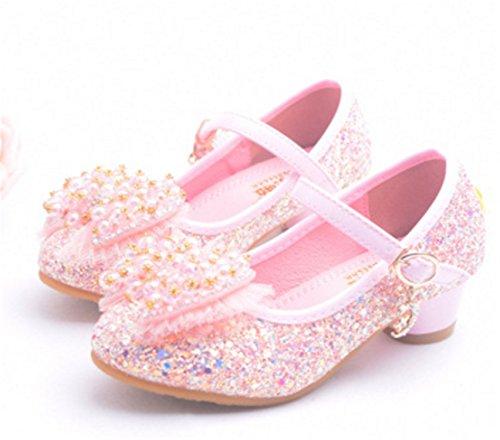 YOGLY Niña Princesa Zapatos de Tacon de Moda Zapatillas de Baile Para Niña EU26-37 Rosa