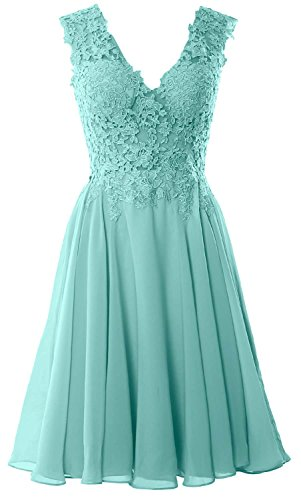 MACloth Gorgeous V Neck Cocktail Dress Short Lace Prom Homecoming Formal Gown Turquesa