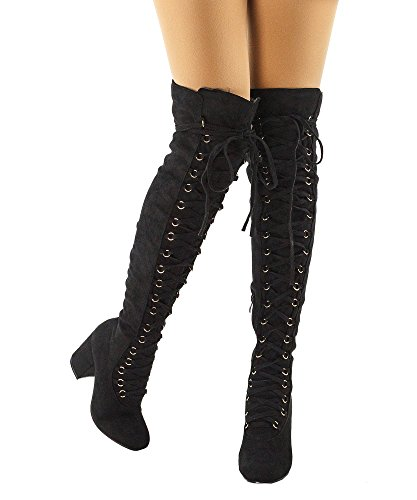 Up Caymus Heel Black Boots Chunky Knee RF The Over Round Women's Toe Lace 24 Suede XpqH1a