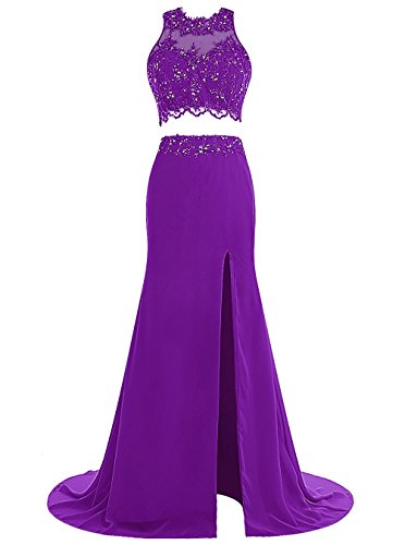 Two Anna's 2017 Long Lace Gowns Dresses Women's Bridal Purple Prom Evening Pieces BggEqw