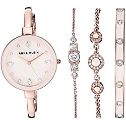 Anne Klein Women's AK/3352PKST Swarovski Crystal Accented Rose Gold-Tone Bangle Watch and Bracelet Set