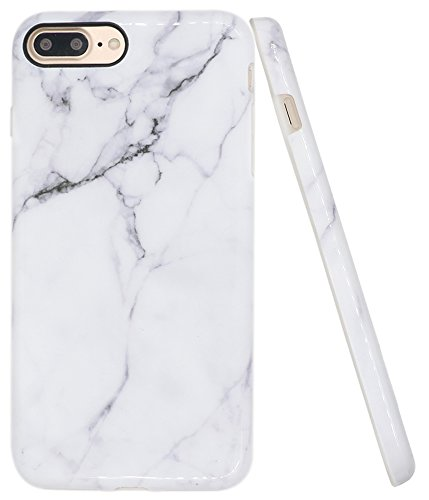 "Iphone 8 Plus Marble Case, Iphone 7 Plus Case, A-Focus IMD Design White Marble Pattern Stone Texture Soft Flexible TPU Slim Fit Cover Case for Iphone 7 / 8 Plus 5.5"" - Glossy Gray 2"