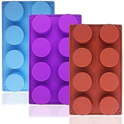 Molde para hornear de silicona redonda grande de 8 cavidades, SourceTon 3 paquetes de moldes para hornear antiadherentes de calidad alimentaria para pasteles, dulces, panecillo de jabón hecho a mano, Magdalena, Cubo de hielo