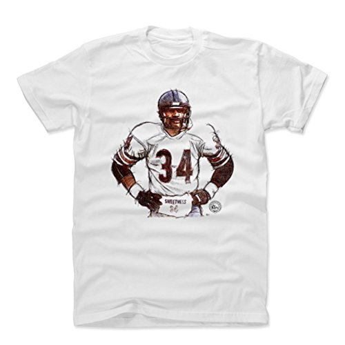 (500 LEVEL Walter Payton Cotton Shirt Large White - Vintage Chicago Football Men's Apparel - Walter Payton Sweetness Sketch )