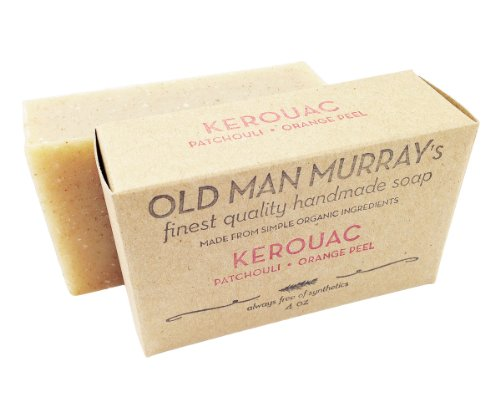 Kerouac All-Natural Soap (2 Bars) – Patchouli, Orange Peel – Handmade w/ Simple Organic Ingredients – No Parabens, Alcohol, Petroleum, Artificial Dyes…