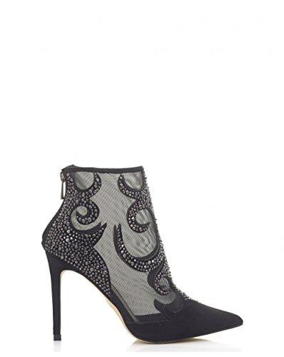Moda In Pelle Beaded Mesh Ankle Boots 7 BLACK