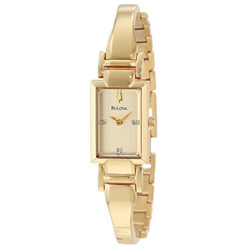 Bulova Women's 97P104XG Diamond Dial Quartz Yellow Gold Bracelet Watch (Certified Refurbished)
