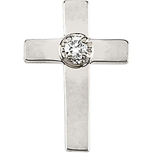 09.00×07.00 mm Cross Lapel Pin with Diamond in 14K Yellow Gold