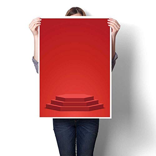 Hanging Painting Stage for Awards Ceremony Polyhedron red Podium Pedestal Scene Vector Painting,12