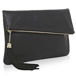 Mg Collection Foldover Clutch Purse Fashion Evening Handbag With Tassel Black