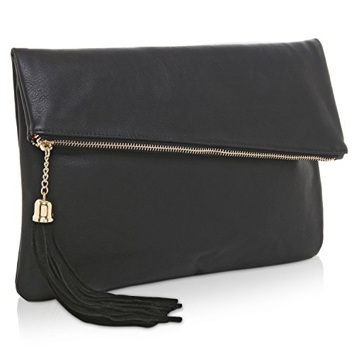 MG Collection Foldover Clutch Purse/Fashion Evening Handbag with Tassel, Black
