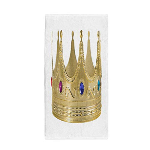 Pinbeam Bath Towel King Golden Crown Replica Gem Stones Gold White Towel Towel ()