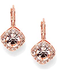 Tailored Solitaire Drop Earrings with Brilliant Round Crystals in Rose Gold Tone. Loved By All!