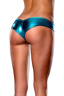 Jojobaby Womens Sexy Plus Size Micro Leather Underwear Shorts Panty Thong