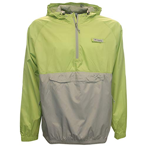 Columbia PFG Terminal Spray Anorak 1/4 Zip Hooded Pullover, Small Green/Gray 1/4 Zip Pullover Anorak