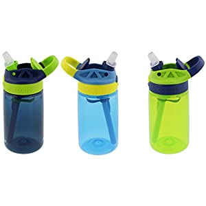 Contigo Kids Autospout Gizmo Water Bottles, 14oz (Nautical Blue/Navy Blue/Chartreuse)